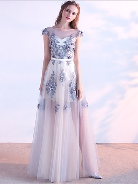 Elegant Appliques Beaded A-Line Flowers Cap Sleeves Scoop Evening Dress & Evening Dresses on sale