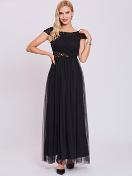Bateau Neck Hollow A Line Evening Dress & Evening Dresses under 100