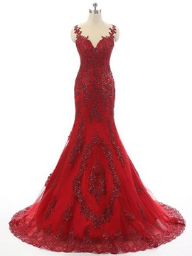 Vintage Trumpet Appliques Jewel Beading Court Train Evening Dress & Evening Dresses on sale