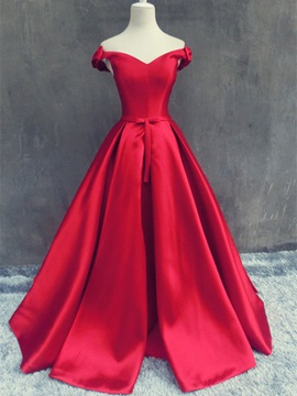 Bowknot Off-the-Shoulder A-Line Evening Dress & vintage Evening Dresses