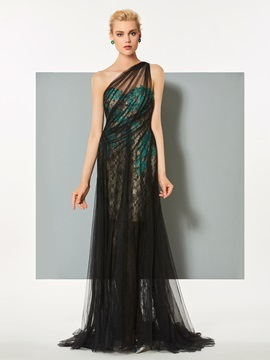 Elegant One-Shoulder A-Line Lace Appliques Sweep Train Evening Dress & unusual Evening Dresses
