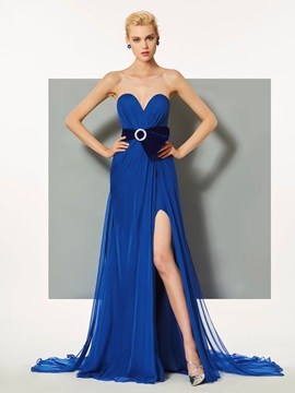 Sweetheart A-Line Split-Front Ruched Evening Dress