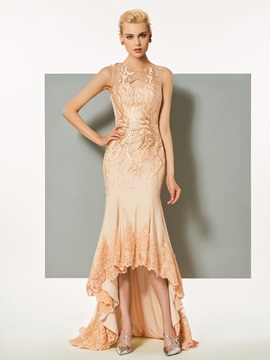 Scoop A-Line Button Hollow Lace Evening Dress