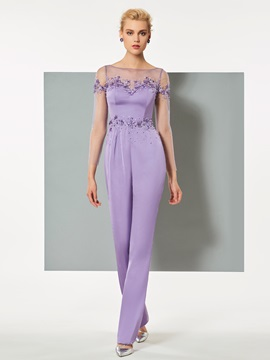 Elegant Cap Sleeves Bateau Sheath Beaded Ankle-Length Jumpsuit & Evening Dresses from china
