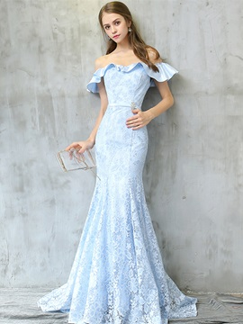 Unique Off-the-Shoulder Mermaid Lace Crystal Lace Sashes Evening Dress & Evening Dresses for sale