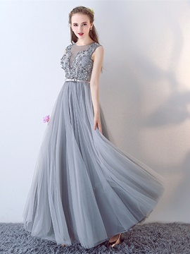 Attractive A-Line Appliques Bowknot Pearls Sashes Jewel Floor-Length Evening Dress & Evening Dresses under 500