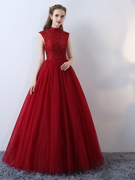 Vintage A-Line High Neck Beading Lace Cap Sleeves Floor-Length Evening Dress