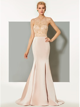 Elegant Trumpet Beaded Halter Sweep Train Evening Dress & vintage Evening Dresses