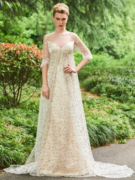 Illusion Neck Half Sleeve Beaded Lace Evening Dress