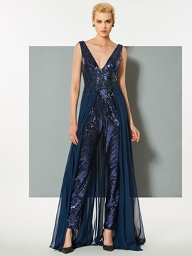 Wonderful A-Line V-Neck Backless Sequins Watteau Train Jumpsuit & unusual Evening Dresses