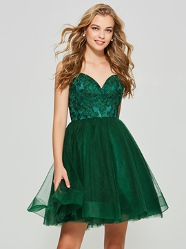 Lovely A-Line Spaghetti Straps Appliques Backless Mini Homecoming Dress & attractive Evening Dresses