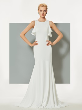 Simple Jewel Trumpet Ruffles Court Train Evening Dress