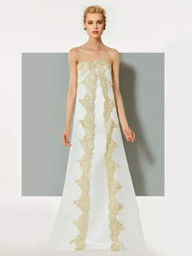 Elegant A-Line Strapless Appliques Sleeveless Sweep Train Evening Dress