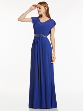 Chic Scoop Neck Cap Sleeves Beaded A Line Evening Dress & petite Evening Dresses