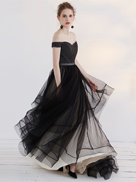 Simple A-Line Off-the-Shoulder Pleats Sashes Court Train Evening Dress & Evening Dresses 2012