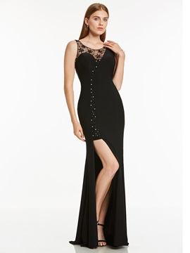 Scoop Neck Split-Front Beaded Evening Dress