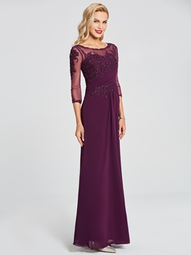 Stylish 3/4 Length Sleeves Scoop Sheath Appliques Beading Pick-Ups Floor-Length Evening Dress & Evening Dresses for less