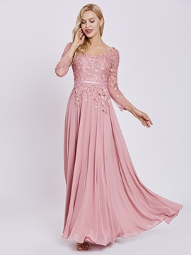 V Neck Long Sleeves Appliques A Line Evening Dress & informal Evening Dresses