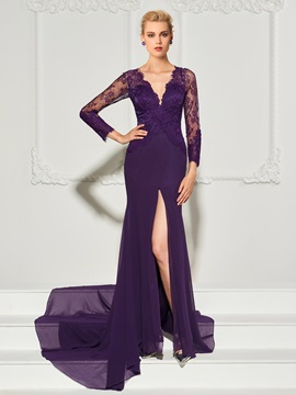 Mermaid ButtonV-Neck Lace Split-Front Evening Dress