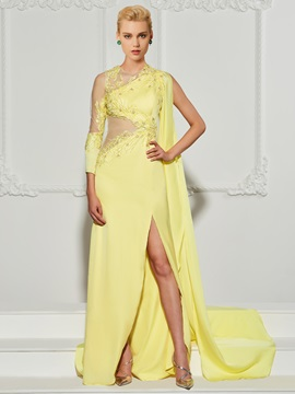 A-Line High Neck Appliques Beading Split-Front Evening Dress
