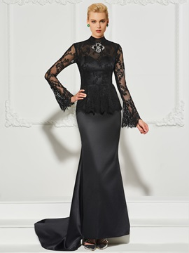 High Neck Beading Button Lace Evening Dress