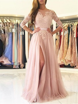 Stylish 3/4 Length Sleeves A-Line Bateau Appliques Sashes Split-Front Evening Dress & colored Evening Dresses