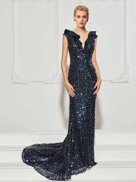 Gorgeous Trumpet Cap Sleeves Ruffles Sequins Court Train Evening Dress