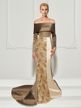 Unique Long Sleeves Trumpet Off-the-Shoulder Sequins Sweep Train Evening Dress
