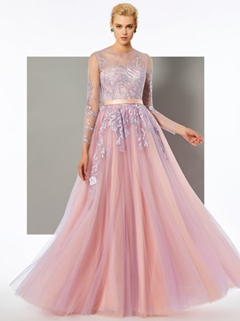 Charming A-Line Long Sleeves Scoop Button Lace Floor-Length Evening Dress & petite Evening Dresses