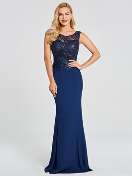 Scoop Neck Beaded Appliques Mermaid Evening Dress