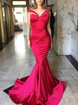 Modern Mermaid Off-the-Shoulder Pleats Court Train Evening Dress & Evening Dresses from china