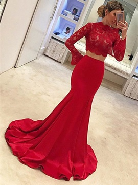 Modern Two Pieces High Neck Mermaid Long Sleeves Lace Evening Dress & Evening Dresses under 500