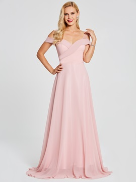 Off-The-Shoulder A Line Pink Evening Dress