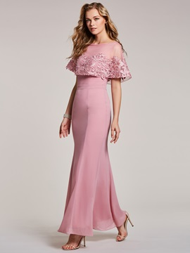 Bateau Lace Appliques Mermaid Evening Dress