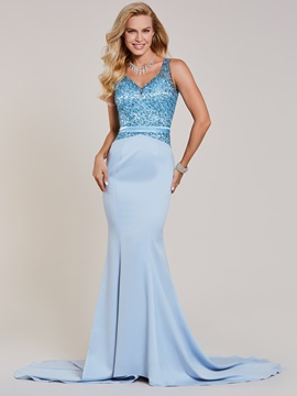 V Neck Beaded Mermaid Evening Dress & Evening Dresses online