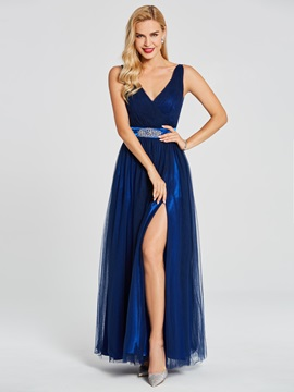V Neck Split-Front A Line Evening Dress