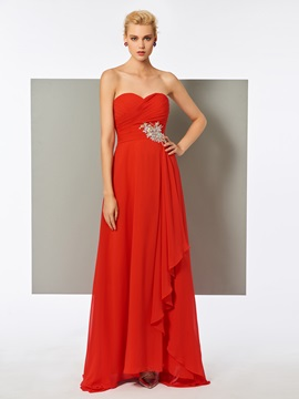 Simple A-Line Sweetheart Crystal Floor-Length Evening Dress & Evening Dresses online
