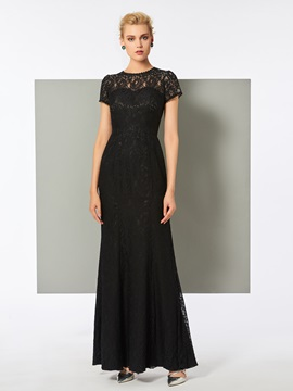 Scoop Cap Sleeves Floor-Length Trumpet Evening Dress
