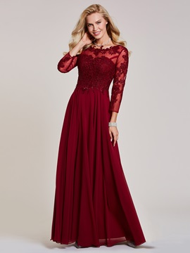 Bateau Neck Long Sleeves Lace Appliques Evening Dress & inexpensive Evening Dresses