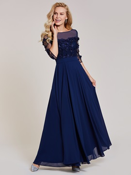 Bateau Neck Appliques Split-Front A Line Evening Dress & unique Evening Dresses