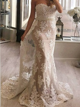 Lace Trumpet Sweetheart Appliques Beading Sweep Train Evening Dress & Evening Dresses under 500