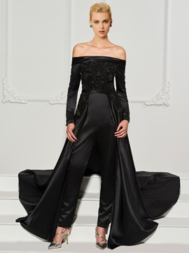 Off-the-Shoulder Appliques Beading Evening Jumpsuits