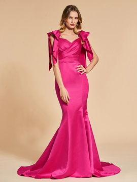 Pleats Mermaid Sweetheart Bowknot Evening Dress