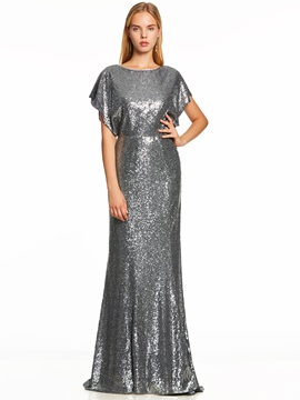 Scoop Neck Cap Sleeves Backless Sequins Evening Dress & attractive Evening Dresses