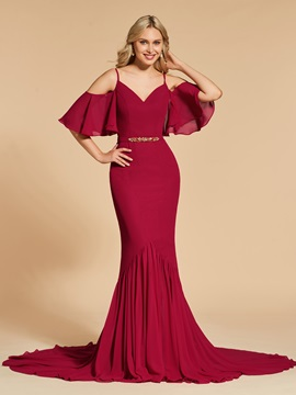 Trumpet Spaghetti Straps Beading Evening Dress