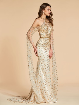 Jewel A-Line Button Lace Long Sleeves Evening Dress