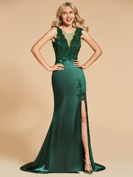 Appliques Trumpet Scoop Lace Split-Front Evening Dress