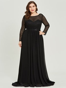 Scoop Neck Lace Appliques A Line Black Evening Dress
