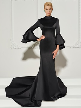 Mermaid Long Sleeves Button High Neck Evening Dress