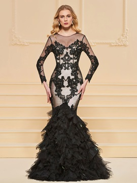 Trumpet Lace Floor-Length Scoop Evening Dress & affordable Evening Dresses